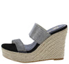 April Black Sparkle Open Toe Dual Strap Espadrille Mule Heel - Wholesale Fashion Shoes