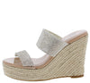 April Nude Sparkle Open Toe Dual Strap Espadrille Mule Heel - Wholesale Fashion Shoes