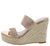 April Rose Gold Sparkle Open Toe Dual Strap Espadrille Mule Heel