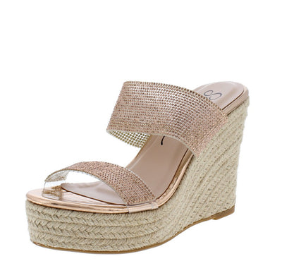 April Rose Gold Sparkle Open Toe Dual Strap Espadrille Mule Heel - Wholesale Fashion Shoes