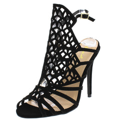 ARA199 BLACK NUBUCK OPEN TOE LASER CUT STILETTO HEEL - Wholesale Fashion Shoes