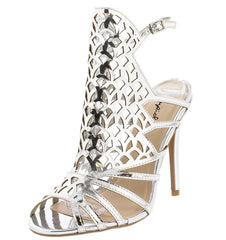 ARA199 SILVER SHINY OPEN TOE LASER CUT STILETTO HEEL - Wholesale Fashion Shoes