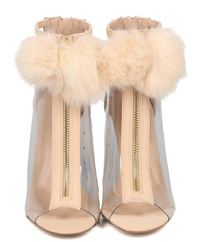 Ara282 Nude Nubuck Clear Fuzzy Pom Pom Peep Toe Heel - Wholesale Fashion Shoes