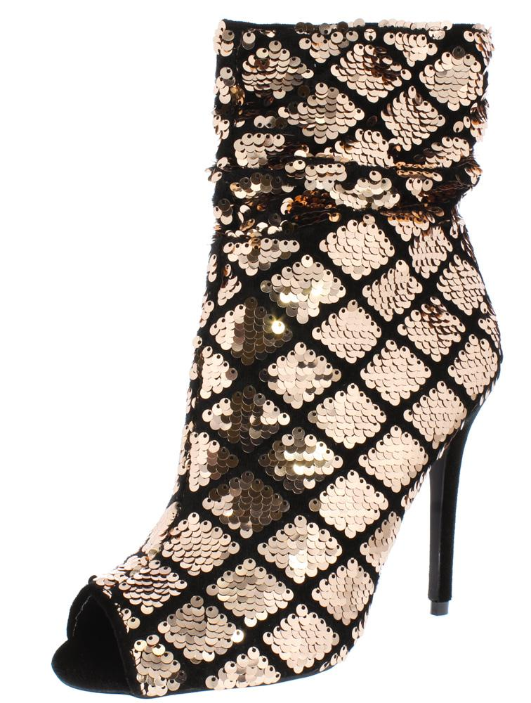 4d51a7a1e680 Ara385 Rose Gold Black Sequin Peep Toe Stiletto Ankle Boot - Wholesale  Fashion Shoes