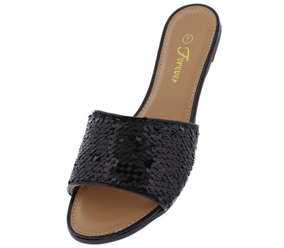 Arabella30 Black Open Toe Sequin Mule Slide Sandal - Wholesale Fashion Shoes