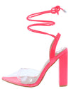 Arani Pink Lucite Pointed Toe Ankle Wrap Tall Block Heel - Wholesale Fashion Shoes