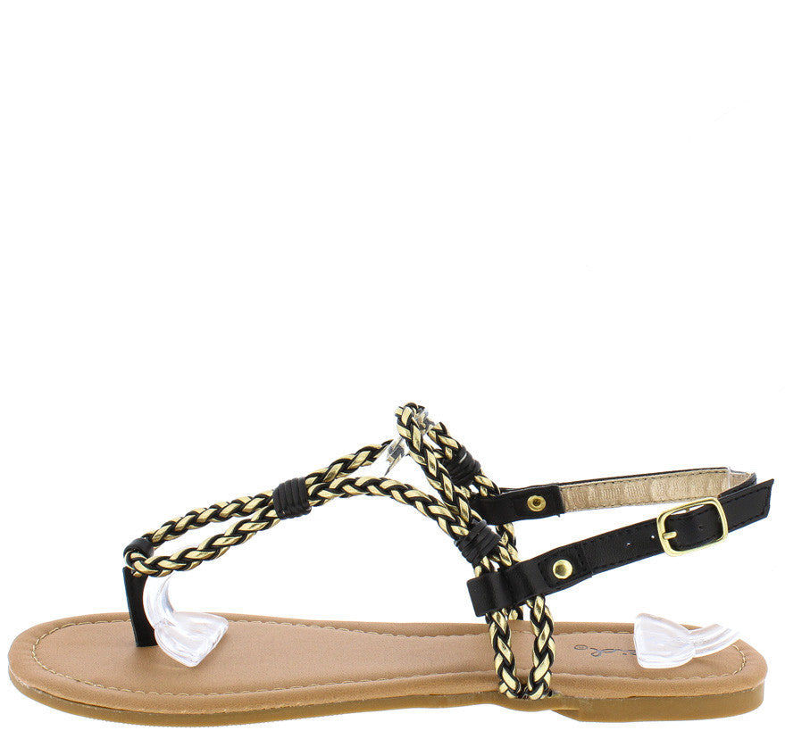 45bd4cd6c Archer143 Black Gold Metallic Rope Strap Thong Sandal - Wholesale Fashion  Shoes