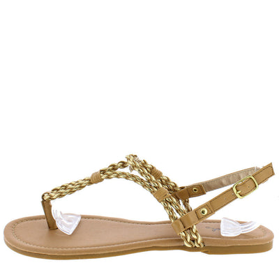 Archer143 Tan Gold Metallic Rope Strap Thong Sandal - Wholesale Fashion Shoes