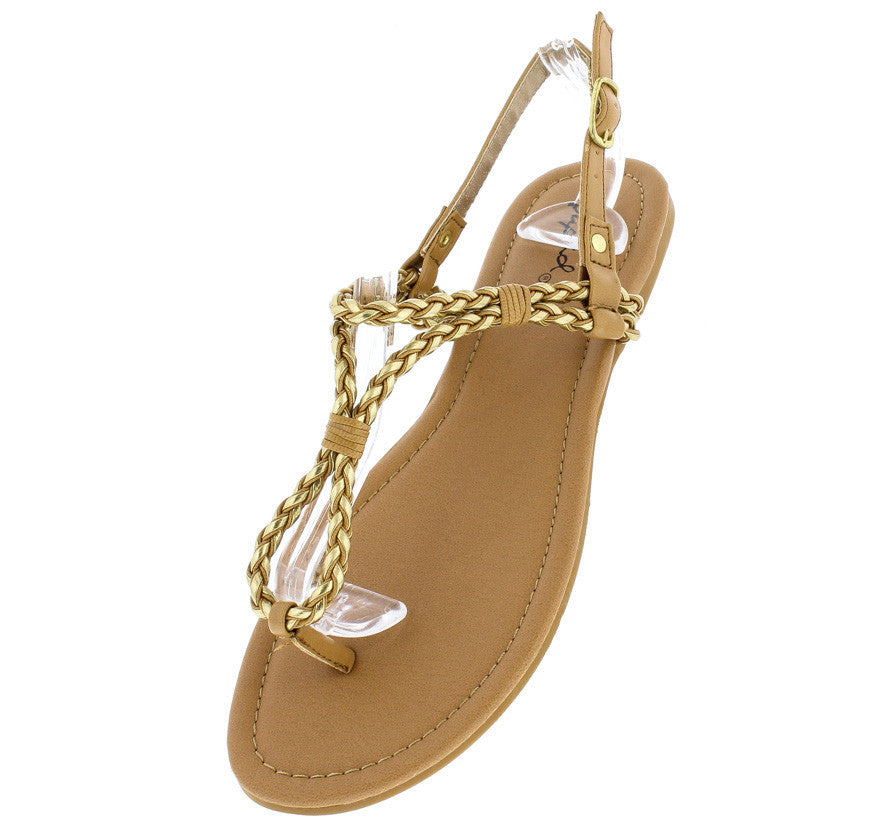 a2a51eb6e Archer143 Tan Gold Metallic Rope Strap Thong Sandal - Wholesale Fashion  Shoes