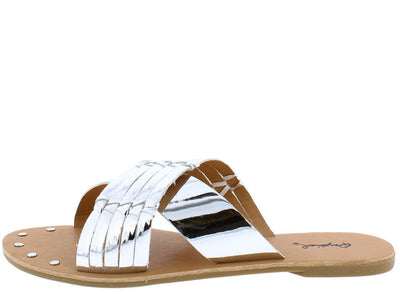 Archer376 Silver Metallic Chrome Slide on Studded Sandal - Wholesale Fashion Shoes