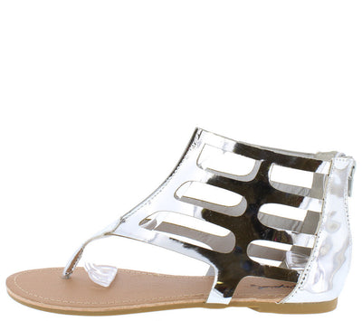 Archer379 Silver Shiny Metallic Cage Thong Sandal - Wholesale Fashion Shoes