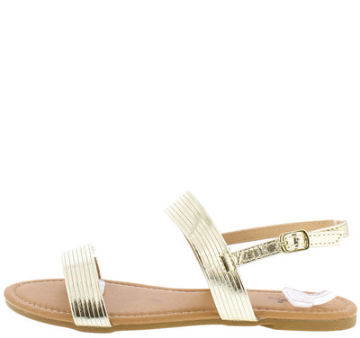 Archer395 Gold Metallic Pu Open Toe Sling Back Sandal - Wholesale Fashion Shoes
