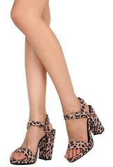 ARDEN01 CAMEL LEOPARD PRINT ANKLE STRAP CHUNKY HEEL - Wholesale Fashion Shoes