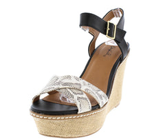 ARDOR77 BLACK SNAKE SKIN ACCENT RAFFIA WEDGE - Wholesale Fashion Shoes