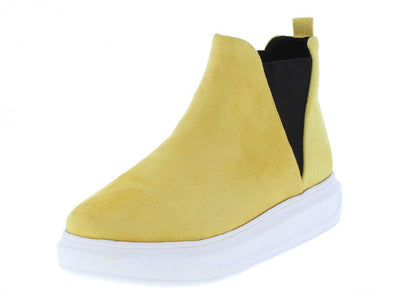 Arena Yellow Round Toe Elastic Panel Sneaker Boot - Wholesale Fashion Shoes