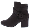Aria01 Charcoal Buckle Wrap Strap Ankle Boot - Wholesale Fashion Shoes