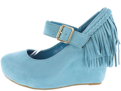 Aria10 Light Blue Suede Braid Fringe Mary Jane Wedge - Wholesale Fashion Shoes