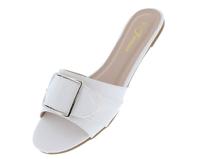 Aria95 White Open Toe Buckle Mule Slide Sandal - Wholesale Fashion Shoes
