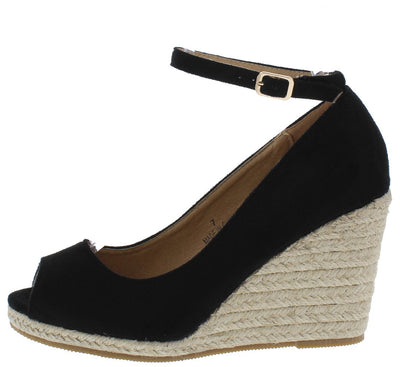 Arial2 Black Peep Toe Ankle Strap Espadrille Wedge - Wholesale Fashion Shoes