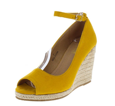 Arial2 Mustard Peep Toe Ankle Strap Espadrille Wedge - Wholesale Fashion Shoes