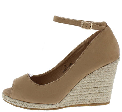 Arial2 Taupe Peep Toe Ankle Strap Espadrille Wedge - Wholesale Fashion Shoes