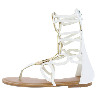 Hazel078 White Oval Metal Ring Caged Gladiator Boot - Wholesale Fashion Shoes
