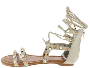 1cf8097674cf Isabelle090 Nude Pearl Stud Open Toe Ghillie Lace Up Sandal - Wholesale  Fashion Shoes
