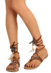 Amelia055 Brown Braided Strappy Boho Bead Detail Thong Sandal - Wholesale Fashion Shoes