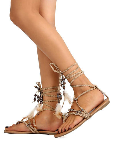 Amelia055 Beige Braided Strappy Boho Bead Detail Thong Sandal - Wholesale Fashion Shoes