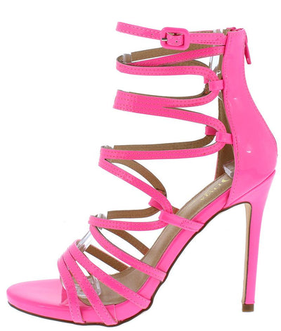 Aries Pink Strappy Open Toe Ankle Strap Stiletto Heel - Wholesale Fashion Shoes