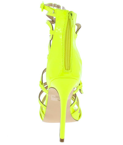 Aries Yellow Strappy Open Toe Ankle Strap Stiletto Heel - Wholesale Fashion Shoes