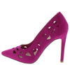 Arina2 Fuchsia Pointed Toe Laser Cut Stiletto Heel - Wholesale Fashion Shoes