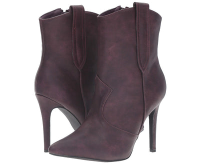Ariza11 Purple Pointed Toe Stiletto Heel Ankle Boot - Wholesale Fashion Shoes