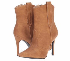 ARIZA11 TAN POINTED TOE STILETTO HEEL ANKLE BOOT - Wholesale Fashion Shoes