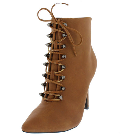 Ariza14 Orange Distressed Pointed Toe Stud Lace Up Ankle Boot - Wholesale Fashion Shoes
