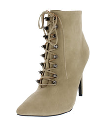 ARIZA14 TAN POINTED TOE STUD LACE UP ANKLE BOOT - Wholesale Fashion Shoes