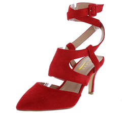 Arlene2 Red Pointed Toe Ankle Cross Wrap Strap Heel - Wholesale Fashion Shoes