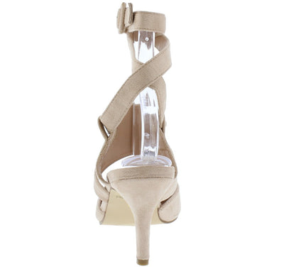 Arlene2 Taupe Pointed Toe Ankle Cross Wrap Strap Heel - Wholesale Fashion Shoes