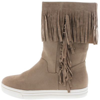 Arrange Taupe Fringe Sneaker Boot - Wholesale Fashion Shoes
