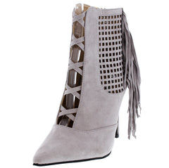 ARTENABY3 GRAY POINTED FRINGE ANKLE BOOT - Wholesale Fashion Shoes
