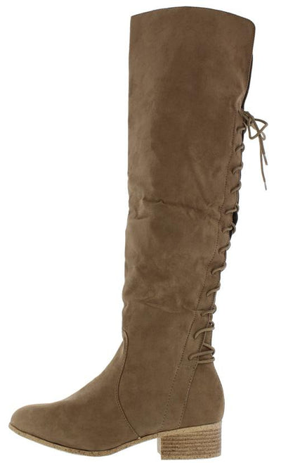 Arthur4 Taupe over the Knee Wood Short Stacked Boot - Wholesale Fashion Shoes