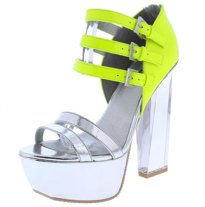 Arctic14 Silver Two Tone Open Toe Strappy Lucite Angled Heel - Wholesale Fashion Shoes