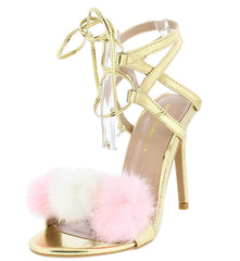 ARTISAN GOLD FURRY POM POM LACE UP WOMEN'S STILETTO HEEL - Wholesale Fashion Shoes