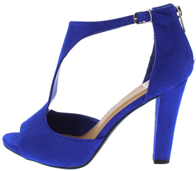 Artworks Electric Blue Peep Toe T Strap Tapered Heel - Wholesale Fashion Shoes