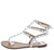 Alya165 White  Studded Strappy Gladiator Thong Sandal