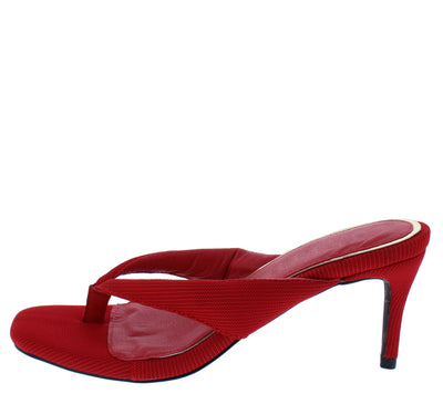 Alison044 Red Thong Square Open Toe Slide On Short Heel - Wholesale Fashion Shoes