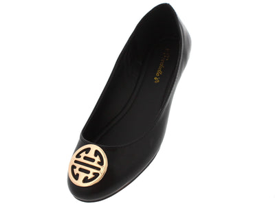 Ashley13 Black Gold Emblem Ballet Flat - Wholesale Fashion Shoes