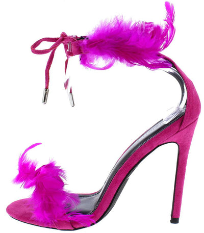 Aster Rose Pink Feather Open Toe Ankle Tie Strap Stiletto Heel - Wholesale Fashion Shoes