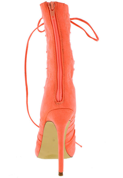 Gianna Coral Open Toe Extended Shaft Multi Strap Lace Up Boot - Wholesale Fashion Shoes