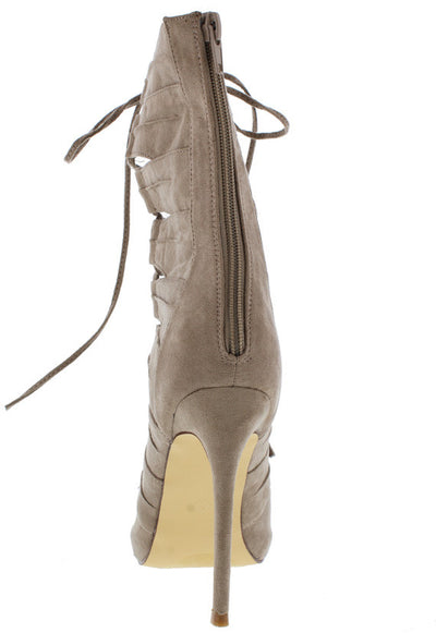 Gianna Taupe Open Toe Extended Shaft Multi Strap Lace Up Boot - Wholesale Fashion Shoes